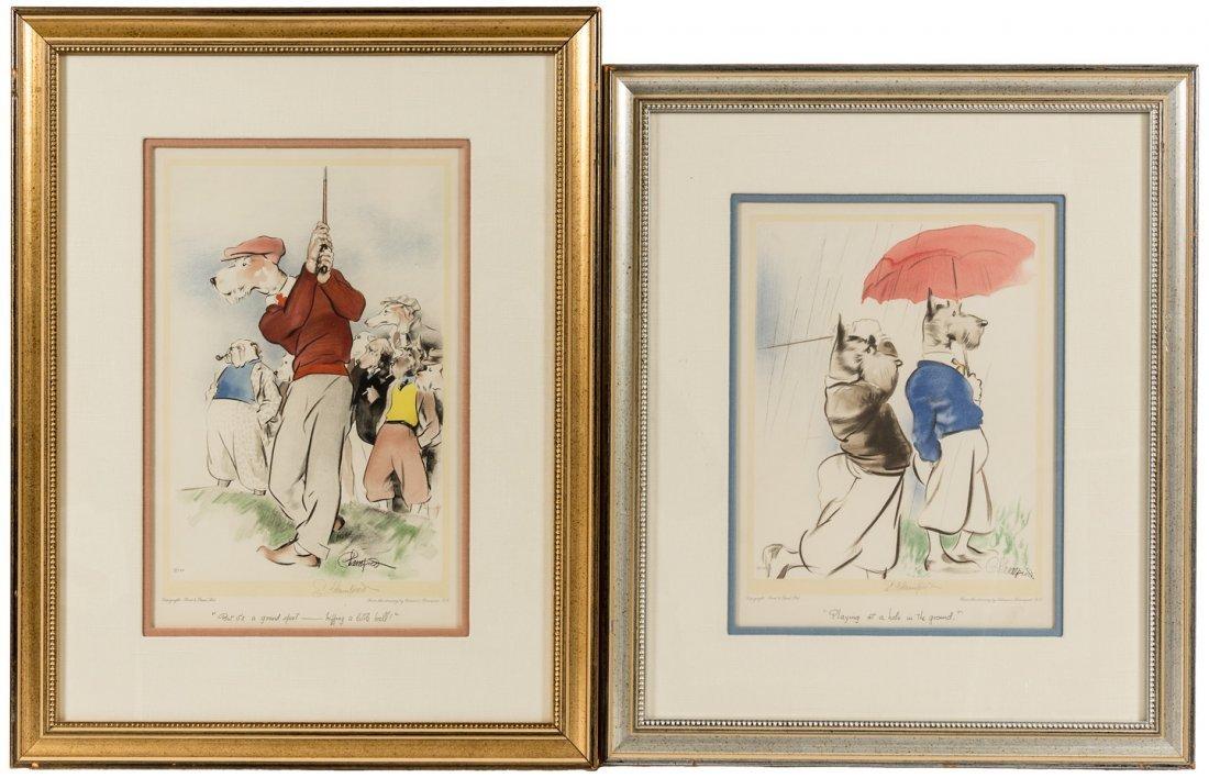 2 Edmund Blampied prints of dogs golfing, signed