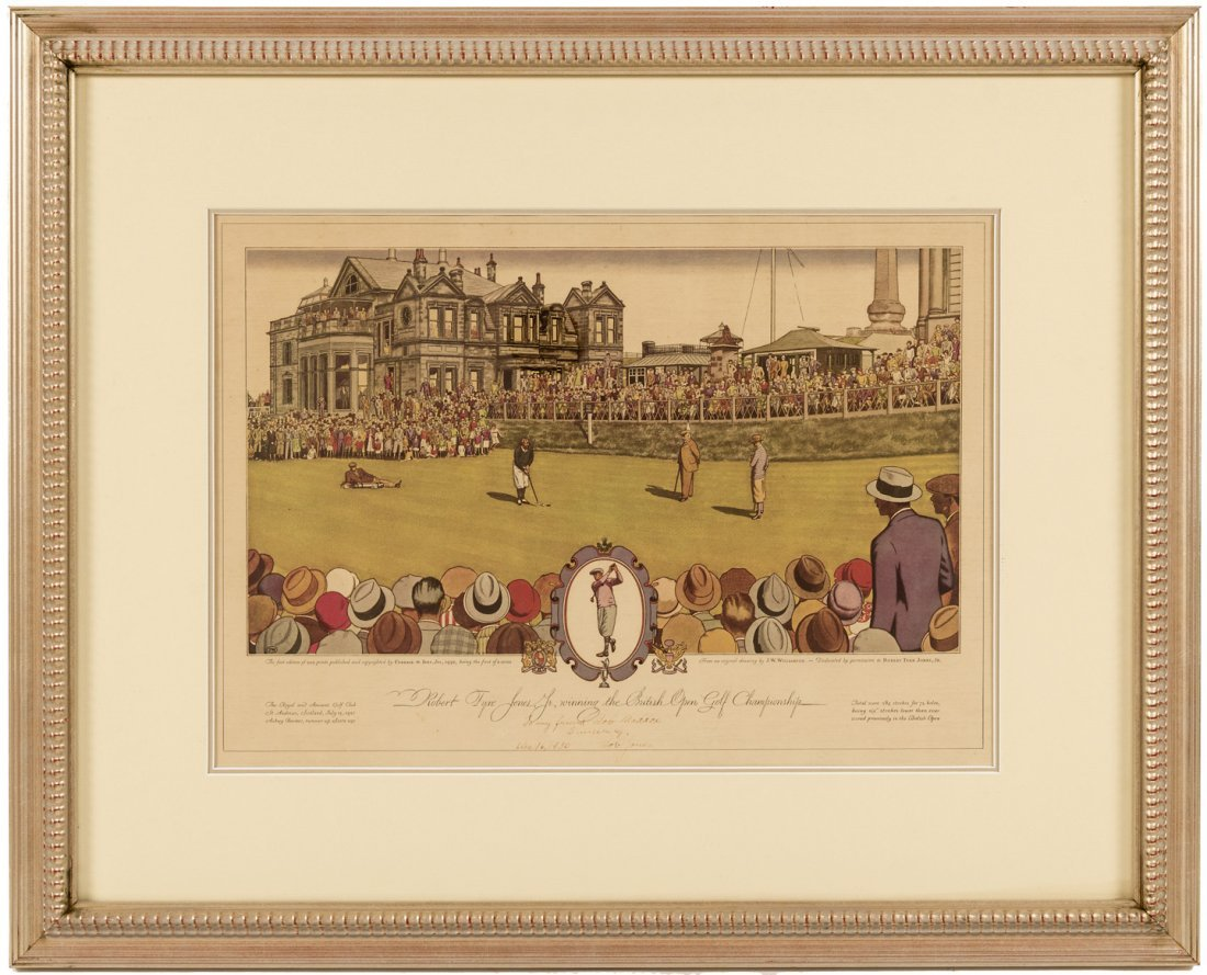 Currier & Ives print of Bobby Jones, signed by him 1930