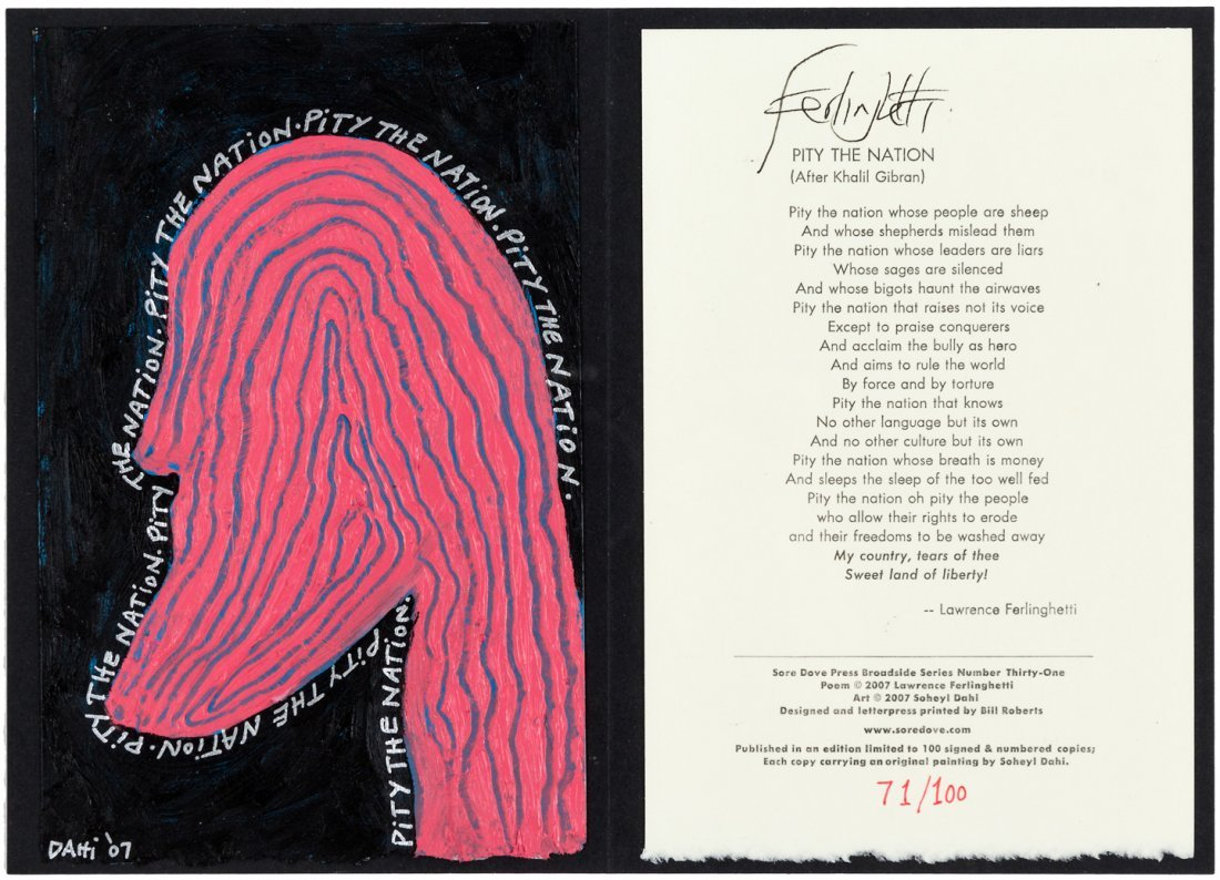 Pity the Nation signed by Lawrence Ferlinghetti, w/art
