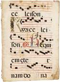 Five antiphonal leaves on vellum