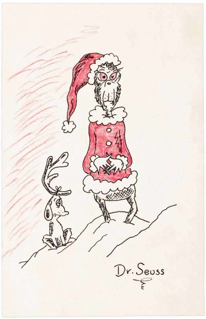Original drawing of the Grinch & Max, by Dr. Seuss