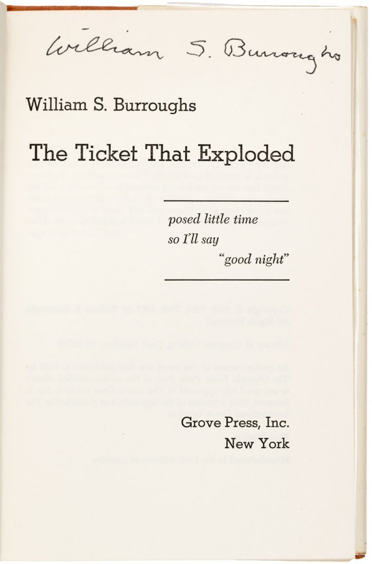 William S. Burroughs Ticket That Exploded signed