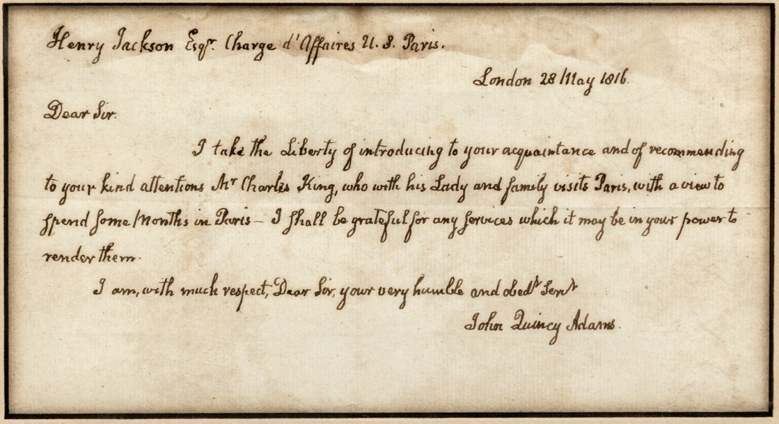 John Quincy Adams Autograph Letter of Introduction