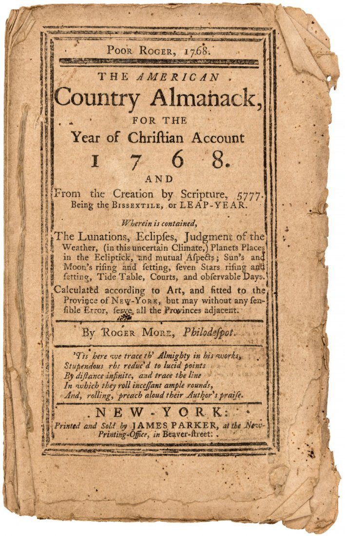Poor Roger American Country Almanack for 1768