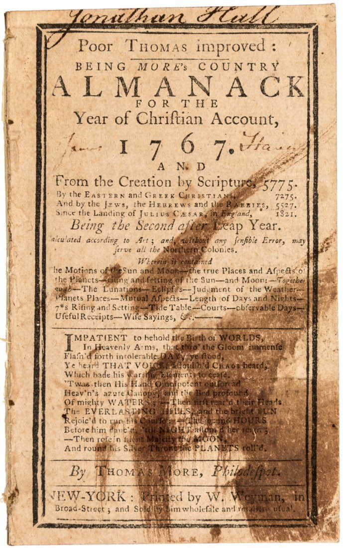Poor Thomas Improved 1767 New York Almanac