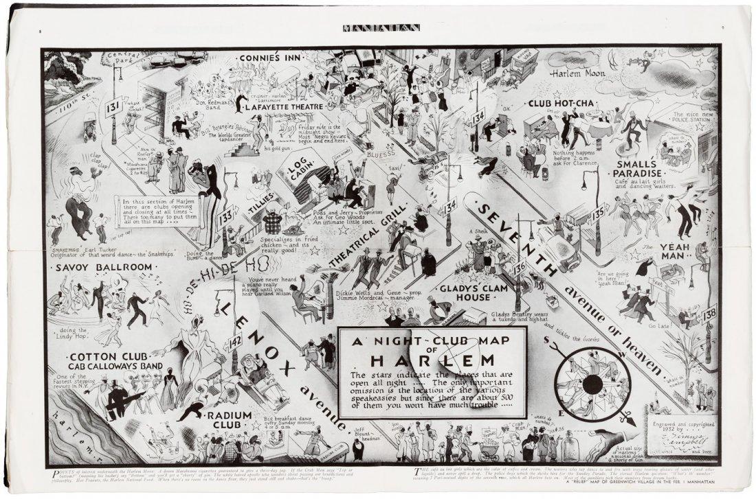 1933 Black cartoonist's Nightclub Map of Harlem, a
