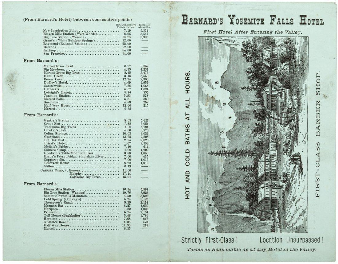 Advertisement for Barnard's Yosemite Falls Hotel