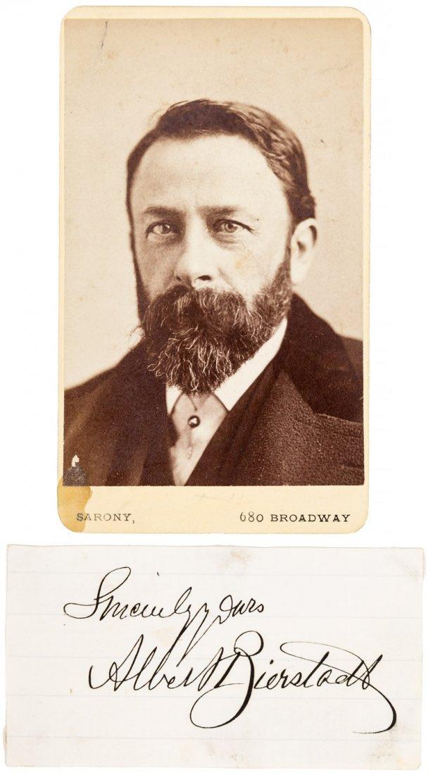 Photograph and signature of Albert Bierstadt