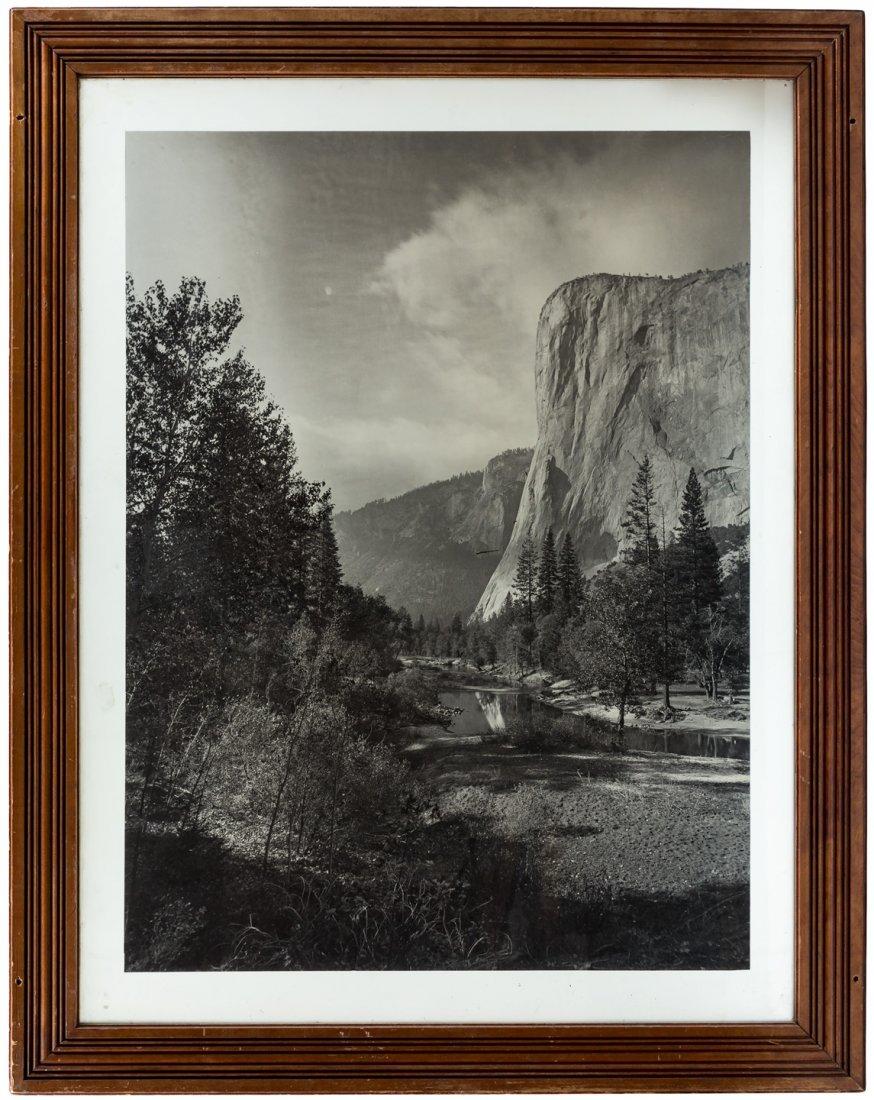 Large glass plate photo of El Capitan Yosemite