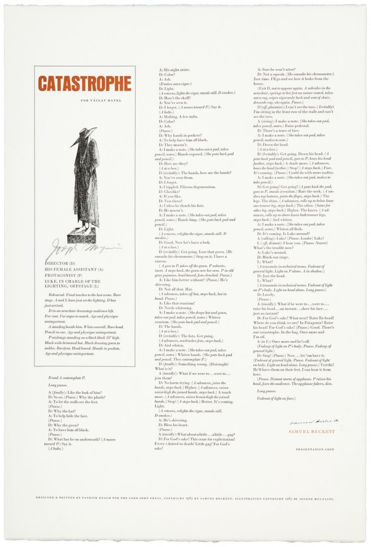 Catastrophe, Samuel Beckett. Broadside.