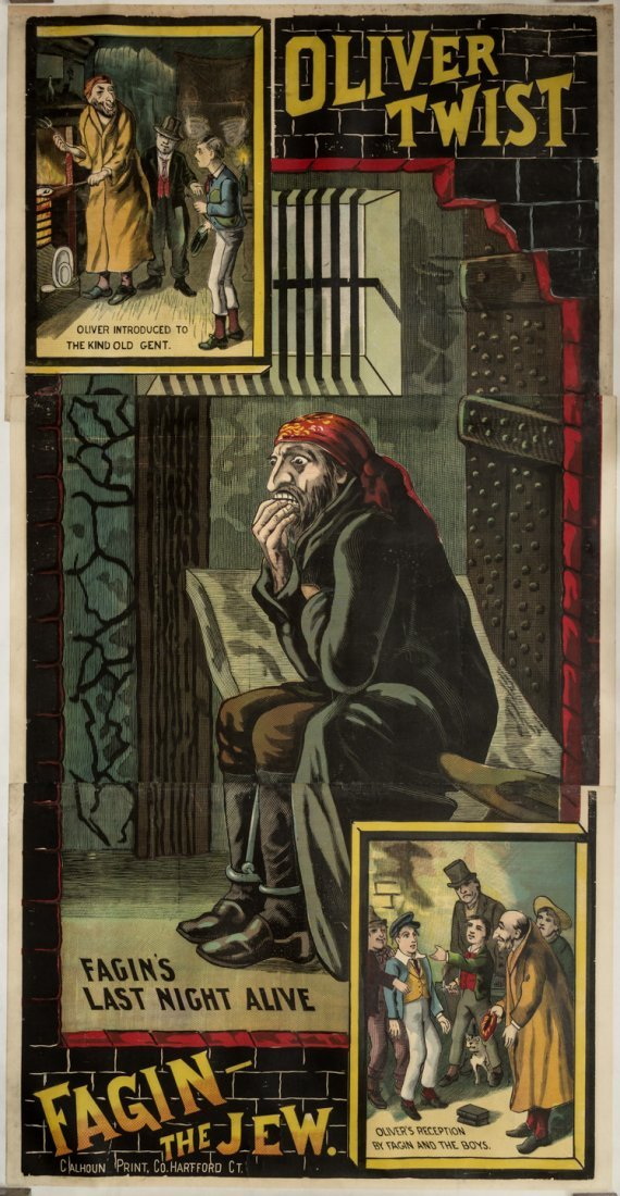 Dickens Poster with Fagin the Jew 1880s