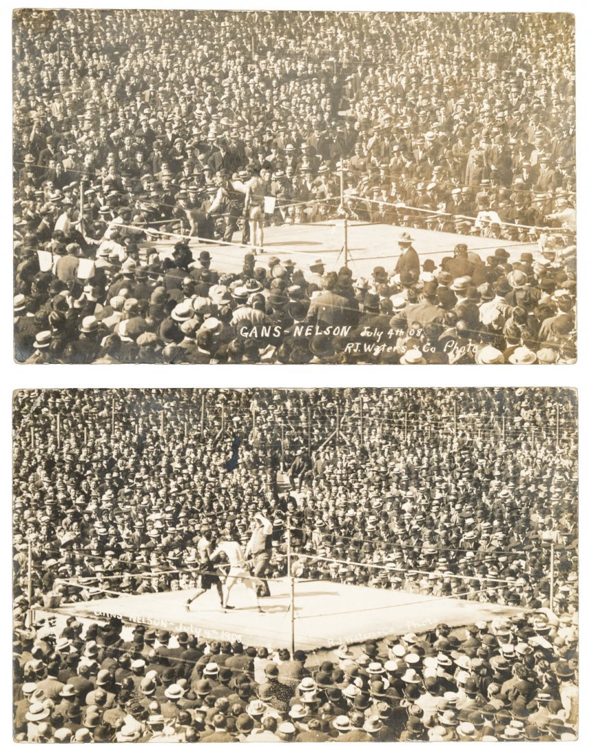 Postcards (two) from boxing match between Gans and