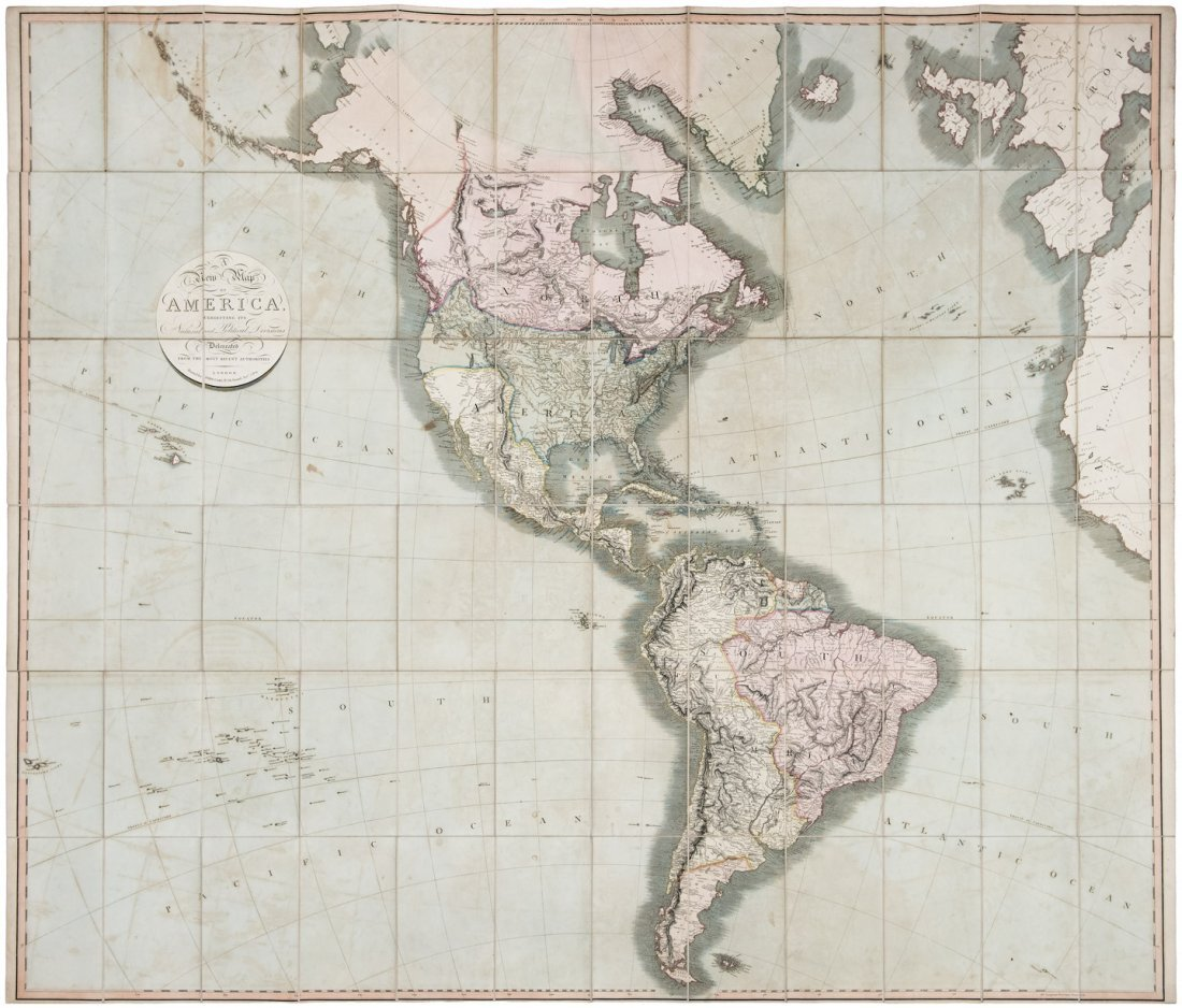 Large folding map of the Americas 1819