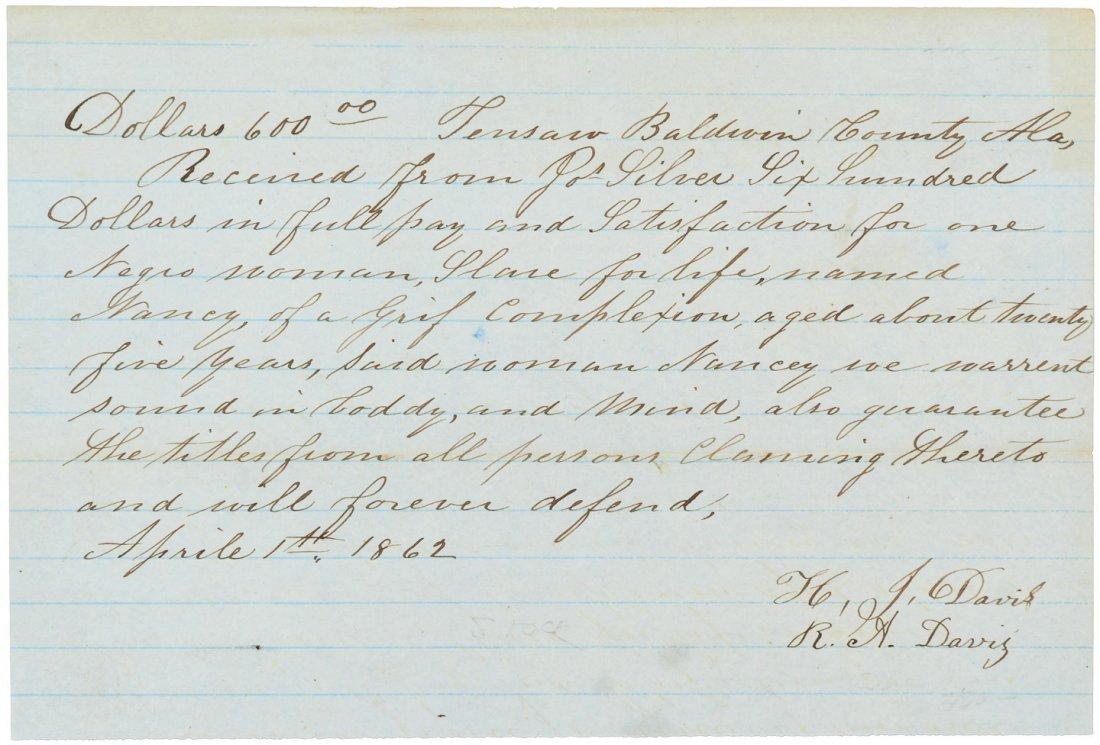 Slave bill of sale during Civil War