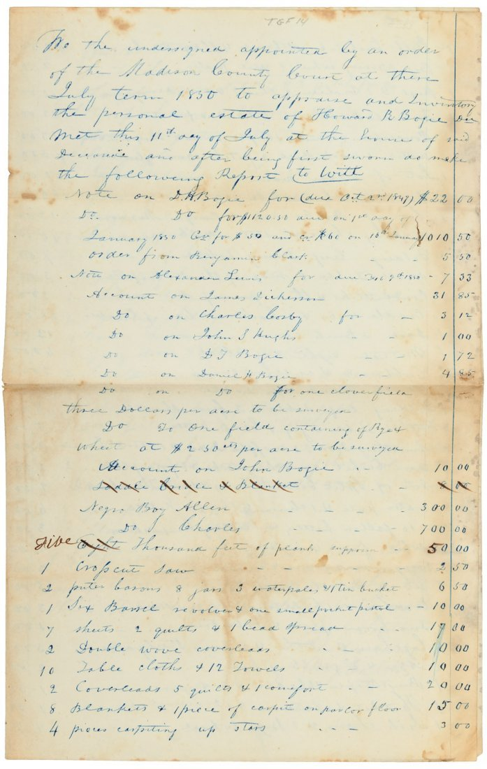 Slaves listed in estate inventory 1850 Kentucky