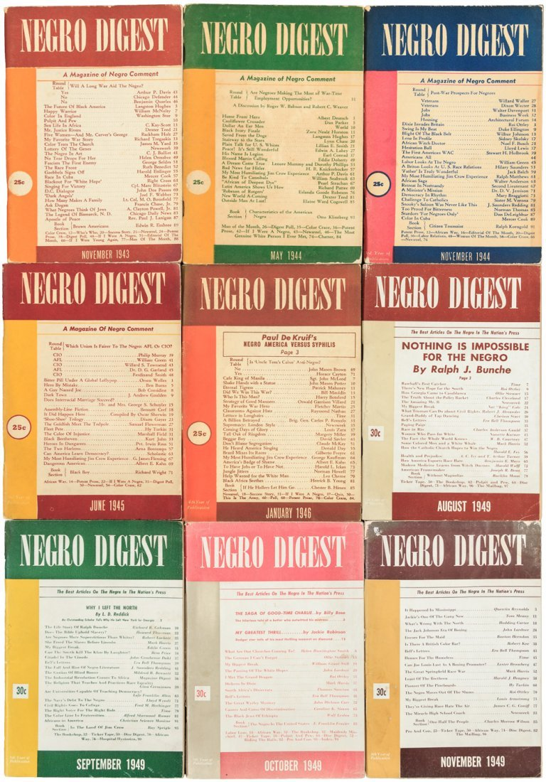 Nine issues of Negro Digest 1943-49