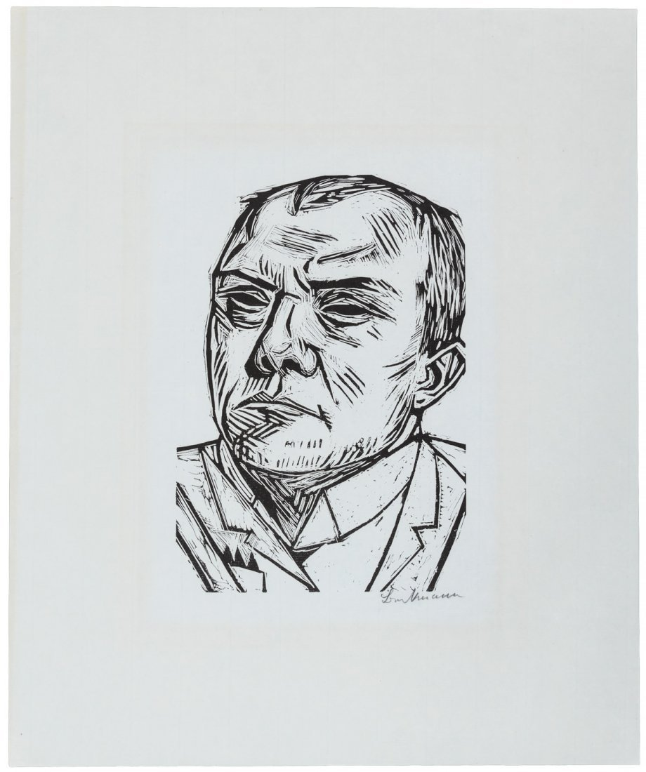 Max Beckmann Self Portrait Woodcut 1/125 signed