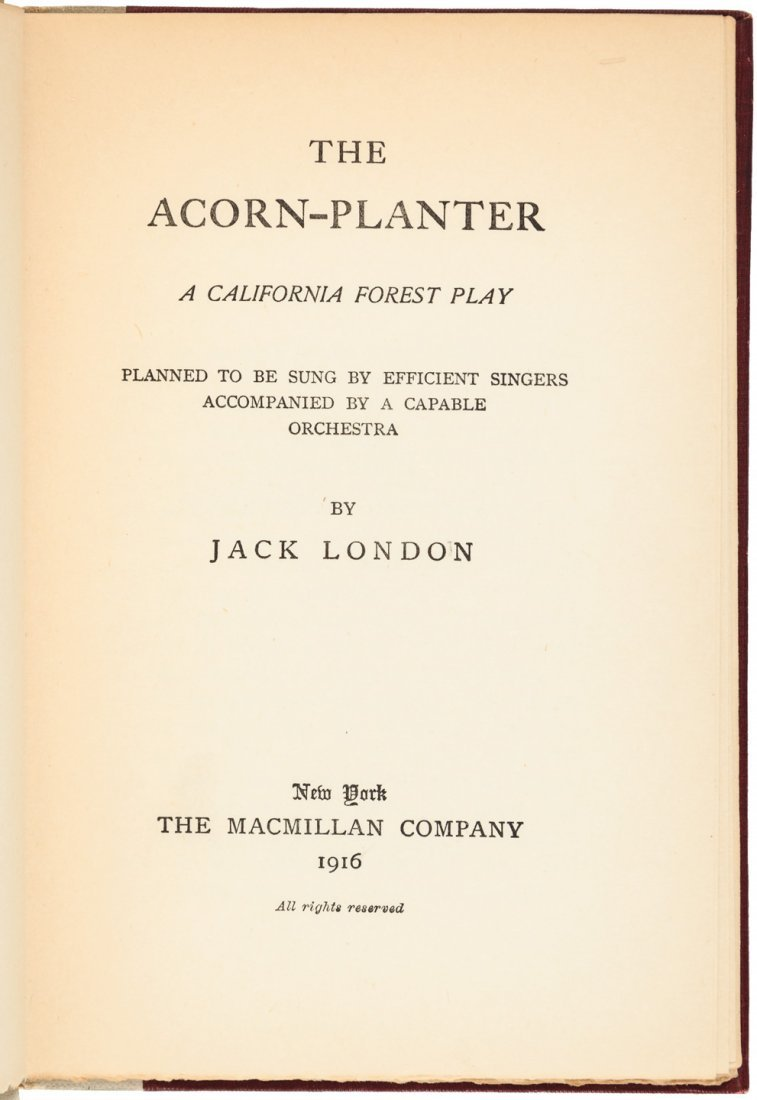 Jack London The Acorn Planter First Edition