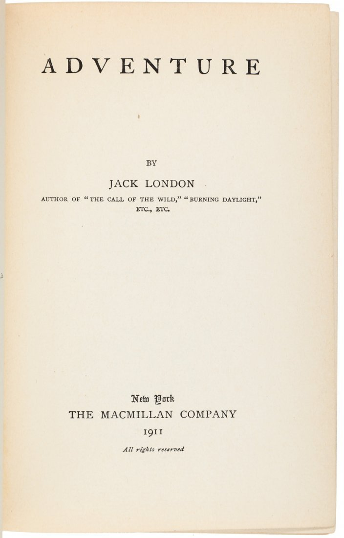 Jack London Adventure Inscribed by the author - 3