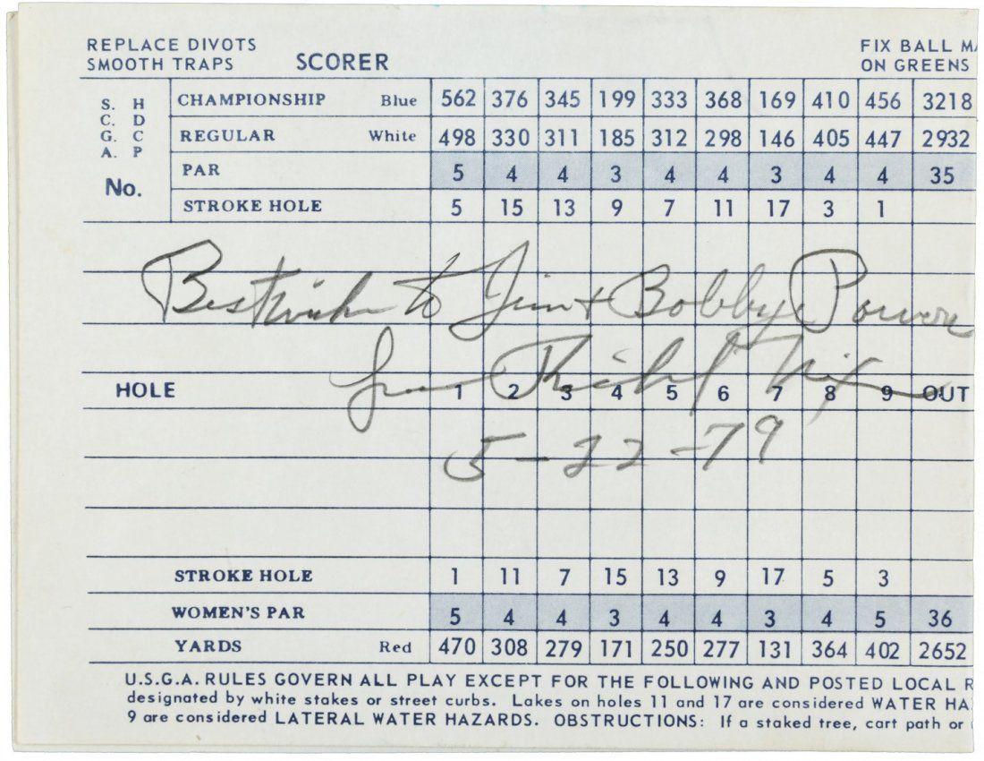Richard Nixon signed golf score card
