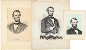 Three lithographs of Abraham Lincoln