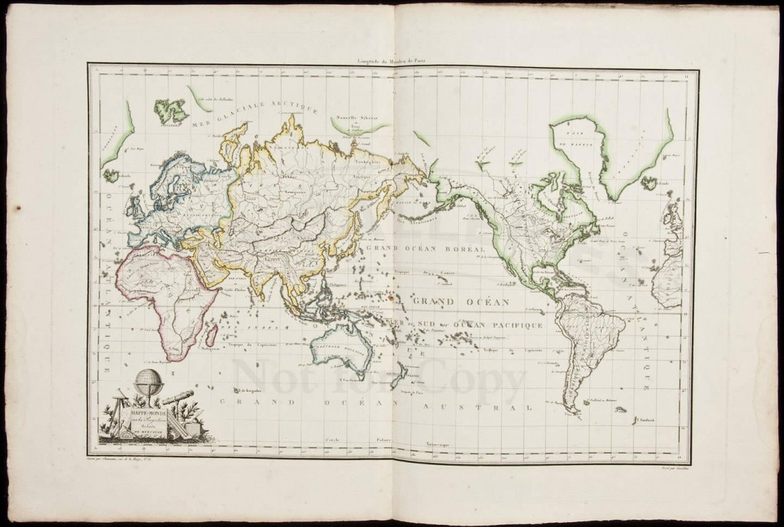 Map of world by Chamouin 1805