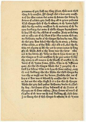 Early Caxton Printed Leaf