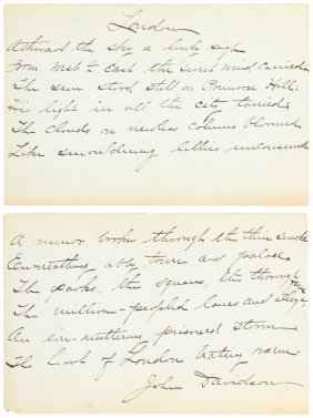 With A Manuscript Poem By John Davidson