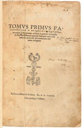 Erasmus Paraphrases The New Testament 1524