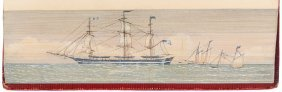 Double Fore-edge Paintings Of Whaling Schooners