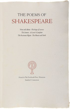 The Overbrook Press Poems Of Shakespeare