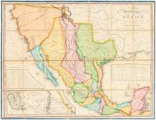 Tanner's map of Mexico 1825 rare first issue