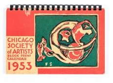 American Woodblock art calendars Chicago 195356