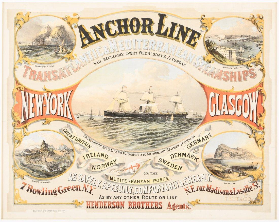 Color broadside for the Anchor Line Steamships