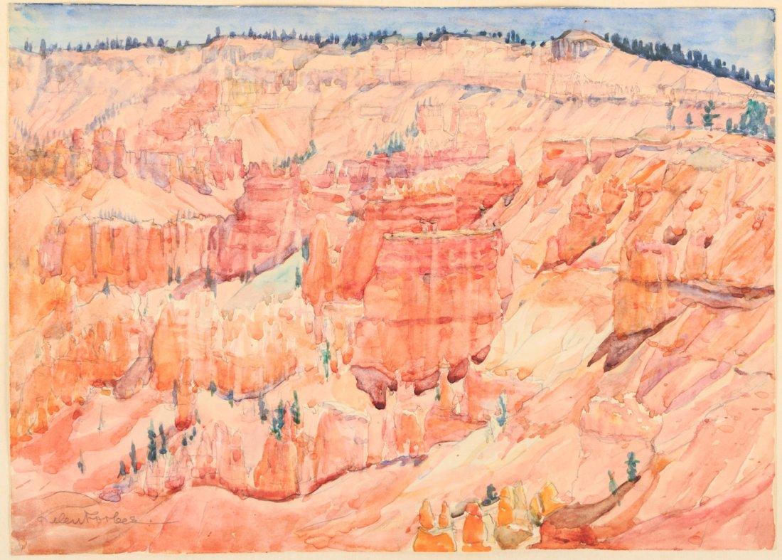 Original watercolor of Bryce Canyon Utah Helen Forbes