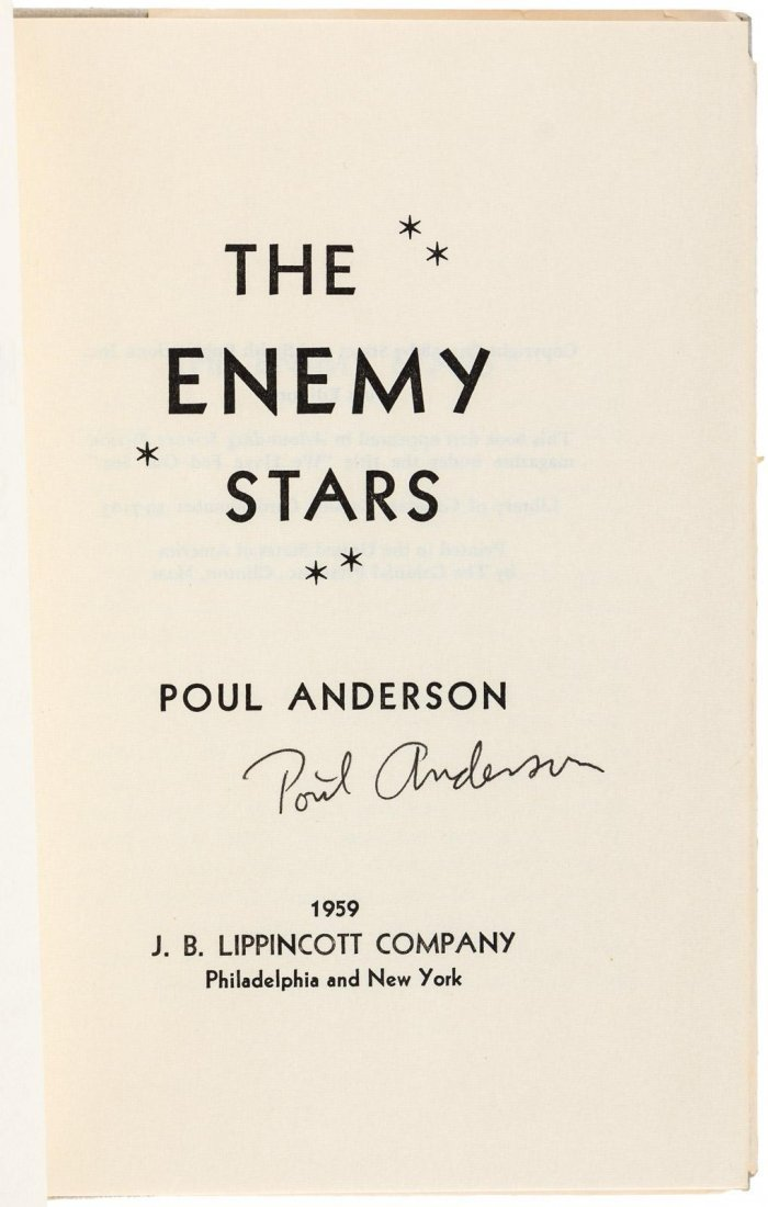Poul Anderson The Enemy Stars signed