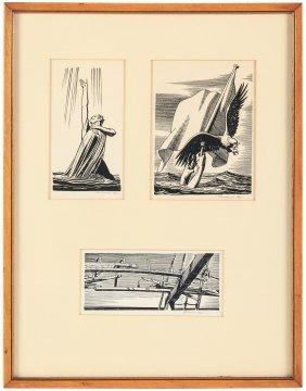 Three Original Rockwell Kent Moby Dick Illustrations