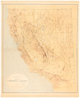 Color Map Of California & Nevada 1874