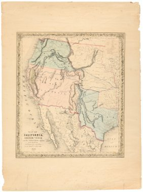 Rare Separate Issue Of Colton Map Of West 1849