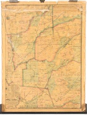 Rare Map Of North Central California 1868