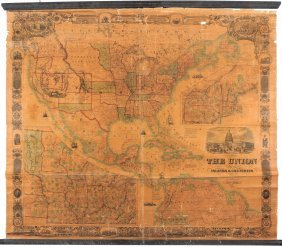 Rare Wall Map Of U.s. & Central America, 1859