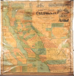 Rare, Large Wall Map Of California 1894