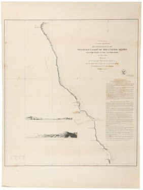 Chart Of Pacific Coast On 3 Sheets 1851
