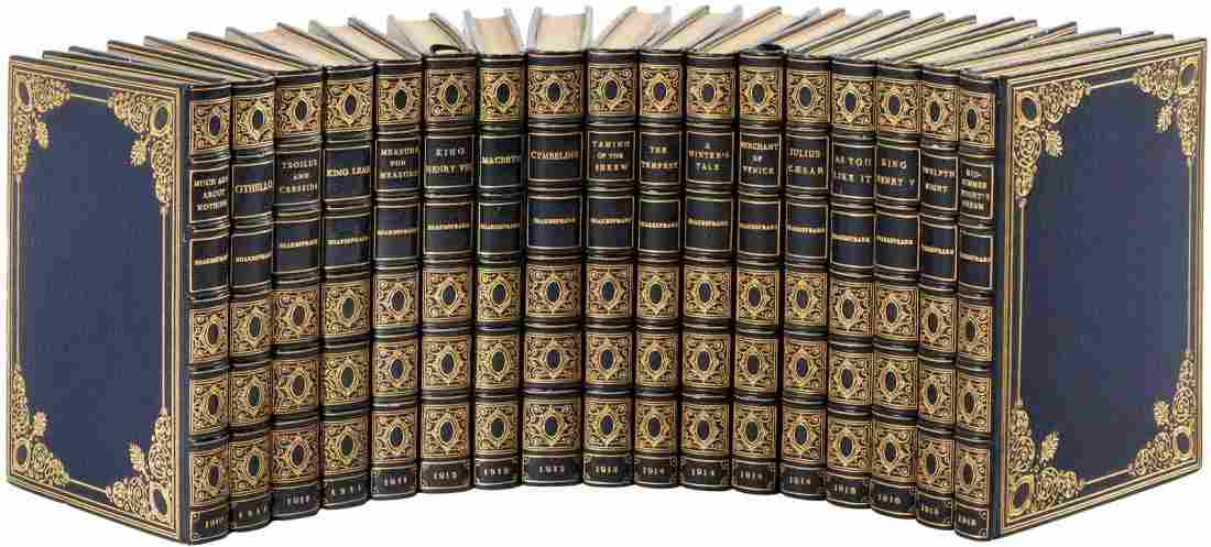 17 volumes from the Temple Shakespeare finely bound