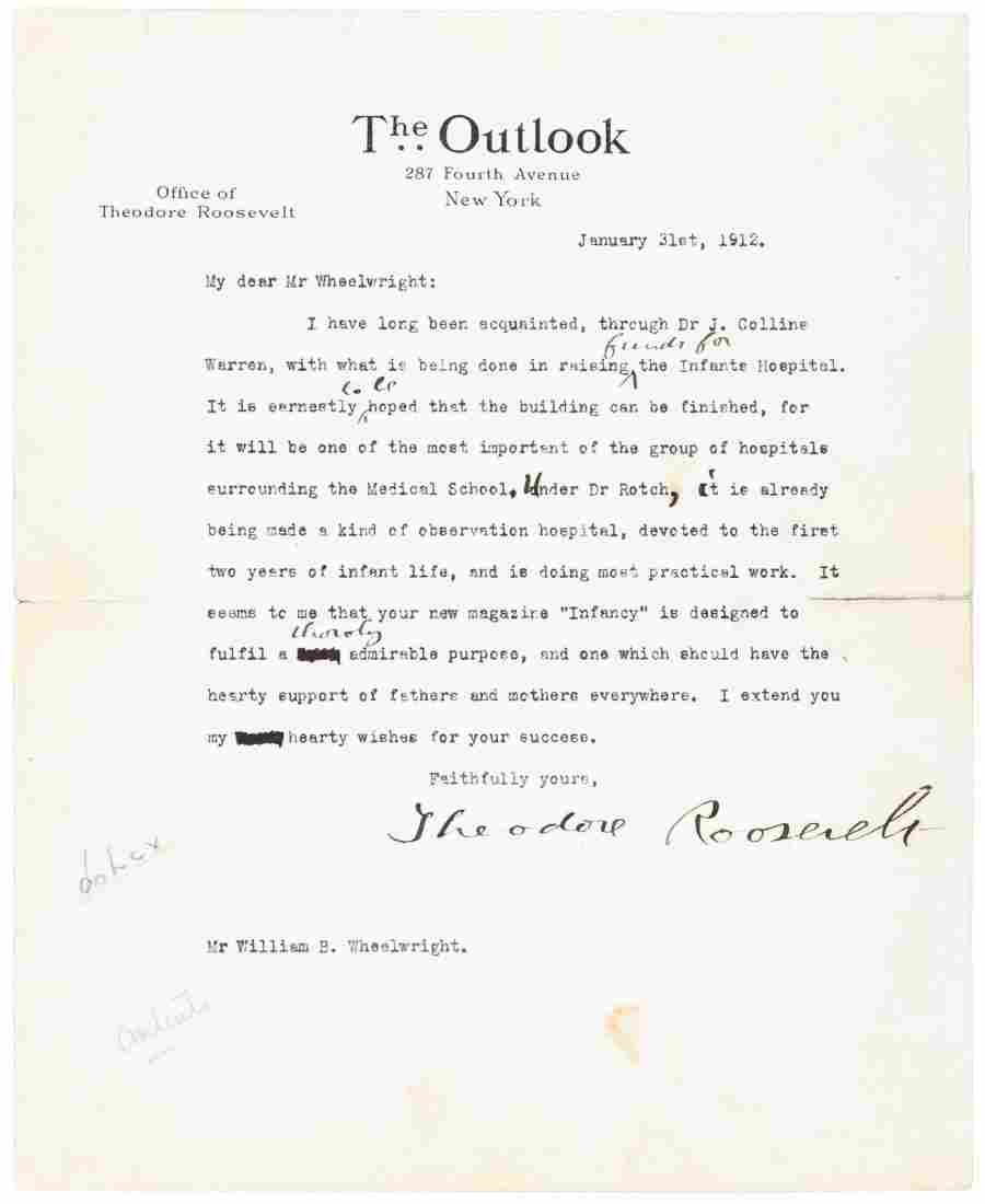 Typed Letter signed from Theodore Roosevelt