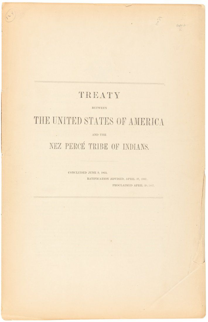 Treaty Between the United States of America and the Nez