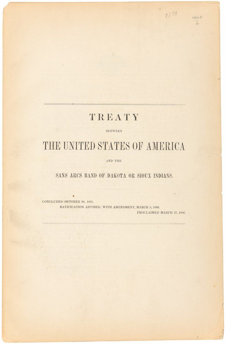 Treaty Between the US and Sioux Indians, 1866.