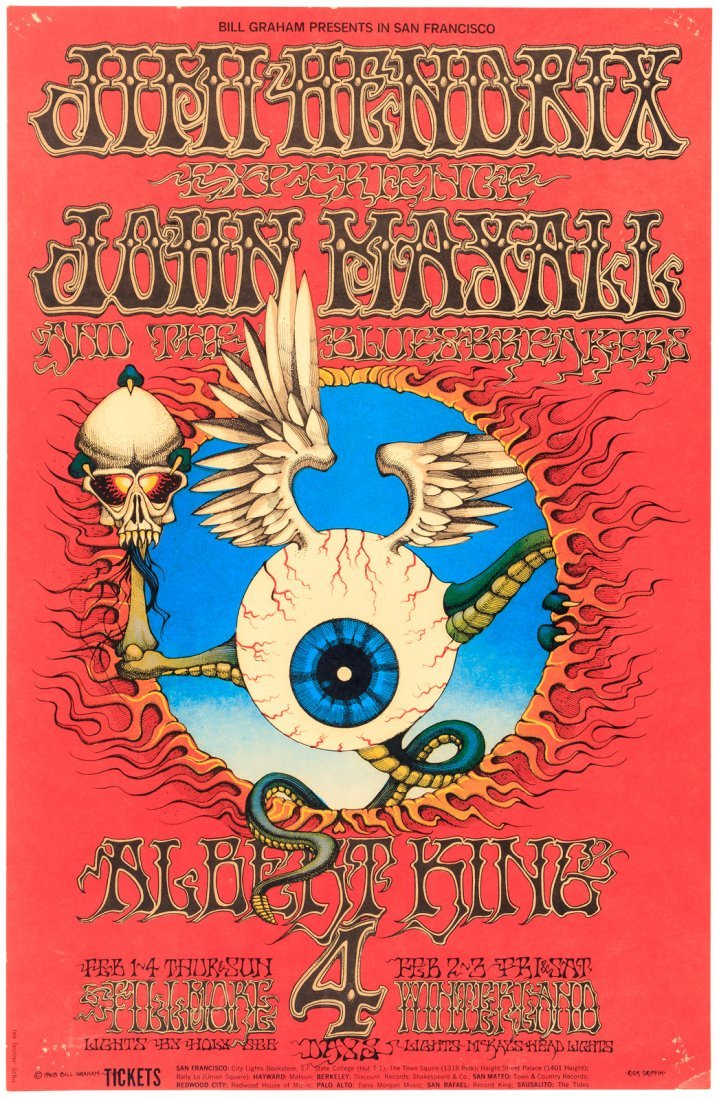 Rare Jimi Hendrix Experience Poster by Rick Griffin