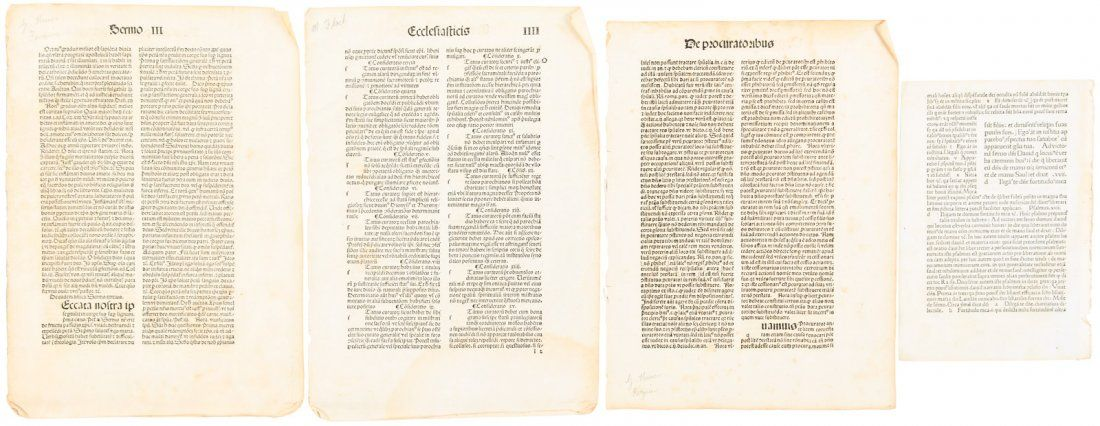 Four leaves of French 15th century printing
