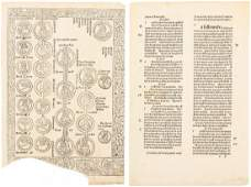 Incunable leaves from La Mer des Hystoires